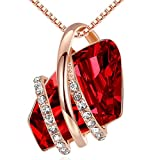 Leafael Wish Stone Pendant Necklace with Ruby Red Birthstone Crystal for January and July, 18K Rose Gold Plated, 18' + 2' Chain