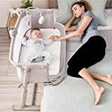 Kidsclub Baby Bedside Sleeper with 2 Replaceable Sheets, Baby Bedside Crib for New Born, Standalone Side-Sleeper for Infants, Baby Nursery Bed 9 Height Adjustable for Bed Sofa