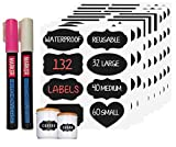 Black Chalkboard & Whiteboard Labels w/Markers - 132 Stickers w/White & Pink Liquid Chalk Markers - For Home Pantry Storage Office Farm Country School Bars Shops Jars Crafts Weddings (Fine 3mm)