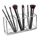 lureme Clear Makeup Brush Holder Organizer, 3 Slot Acrylic Cosmetics Brushes Storage Display Holder (cb000026)