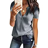 Weginte Womens Shirts and Blouses Short Sleeve Henley Button up Pullover Casual Loose Sleeveless Sweatshirt Tunic Tank Tops