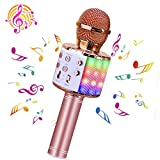 BlueFire Wireless 4 in 1 Bluetooth Karaoke Microphone with LED Lights, Portable Microphone for Kids, Best Gifts Toys for Kids, Girls, Boys and Adults (Pink)