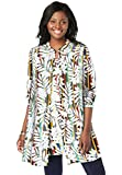 Jessica London Women's Plus Size Georgette Button Front Tunic Sheer Long Shirt - 22 W, Multi Striped Leaves