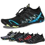 Water Shoes Mens Womens Beach Swim Shoes Quick-Dry Aqua Socks Pool Shoes for Surf Yoga Water Aerobics (F-Black/Blue, 44)