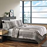 Eddie Bauer Home Fairview Collection 100% Cotton Reversible & Light-Weight Quilt Bedspread With Matching Shams, 3-Piece Bedding Set, Pre-Washed For Extra Comfort, Queen, Grey
