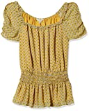 Max Studio Womens Waist Smocked Printed top, Yellow/Sky Clover Crossed Stripe Panel, Large