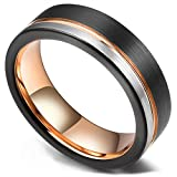 King Will Loop Tungsten Carbide Wedding Band 6mm Rose Gold Line Ring Black and Silver Brushed Comfort Fit 10.5