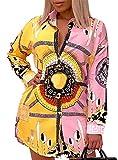 Women Shirt Collar Buttom Down Long Sleeves Printed Shirts Tops Shirt Dress Pink Yellow XXL
