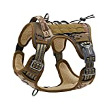 Auroth Tactical Dog Training Harness No Pulling Front Clip Leash Adhesion Reflective K9 Pet Working Vest Easy Control for Small Medium Large Dogs Desert Camo M