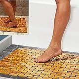 Luxury Multipurpose Bamboo Bath Mat For Shower Spa Sauna with Non Slip Feet | Indoor Outdoor Use for Kitchen Bedroom Bathroom Toilet Doormat Pet Mat | 60 x 40 cm (23.6 x 16')