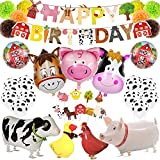 LOCCA Farm Animal Party Decorations, Barnyard Birthday Party Supplies Set for Kids/Boys/Girls, Farmhouse Party Decor for Birthday, Baby Shower with Banner, Cupcake Toppers, Paper Pom Poms and Balloons