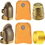 6 Pieces Copper Sewing Thimble Adjustable Sewing Thimble Rings Cap Artificial Leather Coin Finger Protectors Metal Shield for Sewing Embroidery Knitting Quilting