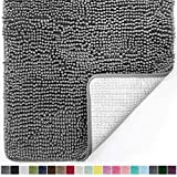 Gorilla Grip Original Luxury Chenille Bathroom Rug Mat, 30x20, Extra Soft and Absorbent Shaggy Rugs, Machine Wash Dry, Perfect Plush Carpet Mats for Tub, Shower, and Bath Room, Gray