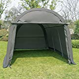 WONLINE 10x15x8ft Portable Heavy Duty Carport, Car Canopy Shelter Garage Storage Shed for Patio Outdoor, Gray, Round Top Style