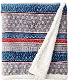 Eddie Bauer Ultra-Plush Collection Oversized Throw-Reversible Sherpa Fleece Cover, Soft & Cozy, Perfect for Bed or Couch, 60X70, Shoreline Stripe
