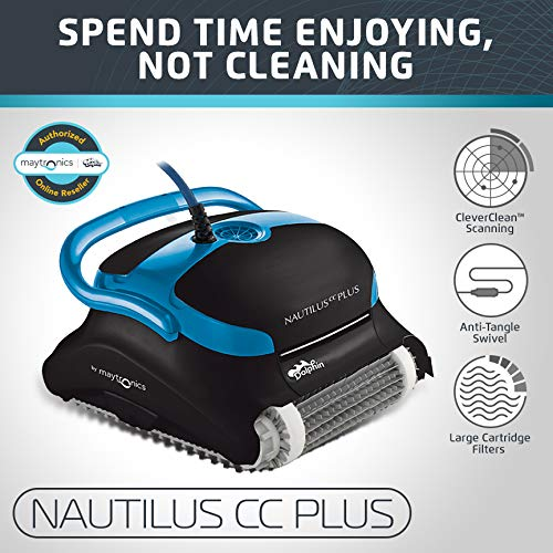 Dolphin Nautilus Cc Plus Automatic Robotic Pool Cleaner With Easy To Clean Large Top Load Filter Cartridges And Tangle Free Swivel Cord, Ideal For In Ground Swimming Pools Up To 50 Feet.