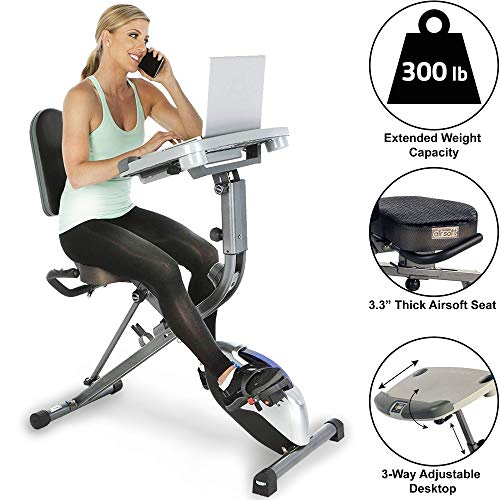 Flywheel Home Bike Black Friday -Exerpeutic Exerwork 1000 Fully Adjustable Desk Folding Exercise Bike With Pulse