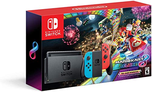 Best Nintendo Switch Black Friday Deals -Nintendo Switch With Neon Blue And Neon Red Joy‑con Hac 001 W/ Mario Kart 8 Deluxe